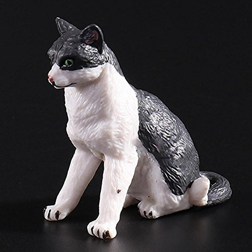Katzenfigur Mini Haustier Figur Garten Deko Modell Nachahmt Kinder Spielzeug spß niedlich Minipuppen Minidollhouse Landschaft Zoo Animal vierschiedene Geste Schwarz&Weiß Kartze