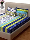 Story@Home Candy 120 TC Cotton Bed Sheet for Double Bed with 2 Pillow Cover Set - Geometric Paisley, Queen Size, Blue and Green