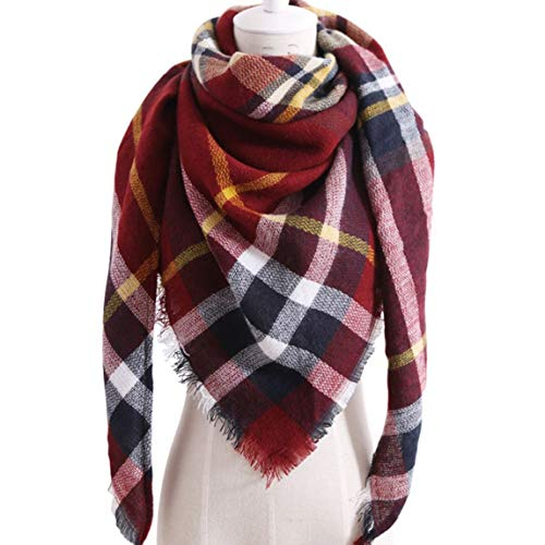 Yhongda Elegante Damen Winter Warmer Tartan Check Hals Schal Wrap Stola Plaid Wolle(None T06 jujube red)