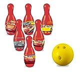 Set 6 birilli con i tuoi personaggi preferiti di Cars e una palla da bowling blu.