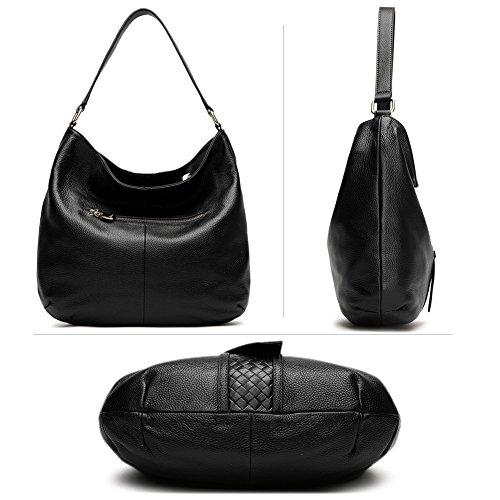 BOSTANTEN Designer Leather Tote Satchel Top-Handle Borse A Spalla Per Le Donne Nero Nero