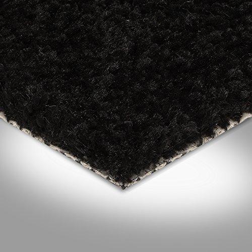 BODENMEISTER BM72182 Teppichboden Auslegware Meterware Hochflor Shaggy Langflor Velour schwarz 400 cm und 500 cm breit, verschiedene Längen, Variante: 5,5 x 4 m