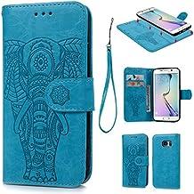 S7 Edge Coque, Case Flip Cover Clapet 2 en 1 Housse Protecteur en Cuir PU avec TPU Silicone Case Coverture pour Samsung Galaxy S7 Edge - Bleu