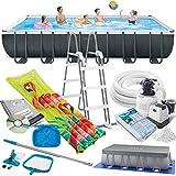 Intex 732x366x132 cm Ultra Frame Swimming Pool 26364 Komplett-Set mit Extra-Zubehör wie: Filterglas, Reinigungsset, Skimmer, Luftmatratze und Fußbad