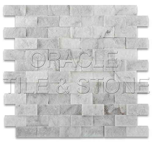 1 X 2 Carrara White Marble Split Faced Brick Mosaic Tile - 6 X 6 Sample by Marble 'n things