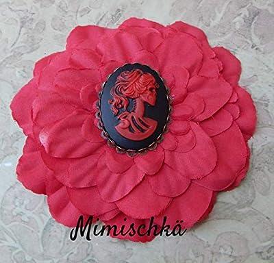 pince à cheveux fleur rouge camée squelette hair clip red flower cameo skeleton