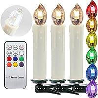 30 Set LED-Kerzen Weihnachtsbaum-Lichterkette mit Fernbedienung Timerfunktion RGB LED Baumkerzen kabellos Kerzenlichter