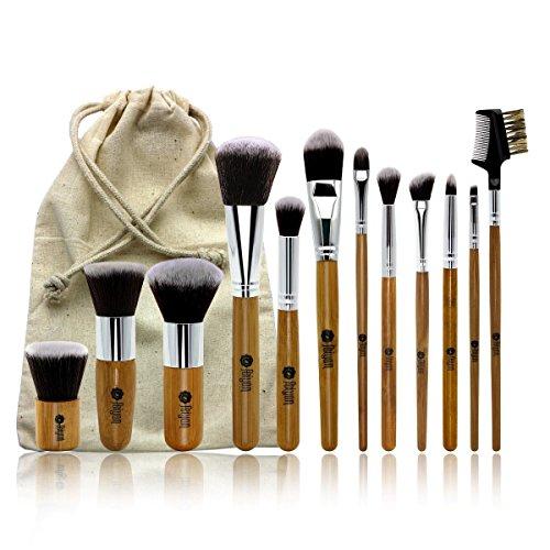 Pinceaux de maquillage Feiyan 12 pcs Professional Poignée en bambou Premium Poils de chèvre Kabuki Fond de teint Cosmétique blending Blush Eye visage Poudre Pinceaux kit avec sac