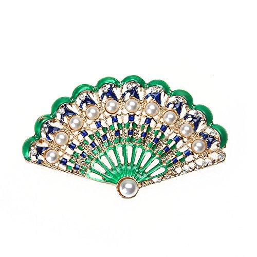 Rrimin Women Fan-shaped Rhinestones Brooch Retro Pin Exquisite Corsage Garment Accessory