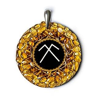 Sky Dome–Bernstein Amulett mit antiken Baltischer Zeichen für Schutz und Fruchtbarkeit. Handgefertigt Halskette–Spirituelle New Age Pagan Baltischer