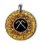 Colgante amuleto de ámbar con el antiguo símbolo espiritual báltico de la protección y la fertilidad, hecho a mano, modelo «Sky Dome» -
