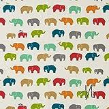 MIRABLAU DESIGN Stoffverkauf Bio Baumwolle Popeline GOTS bunte Elefanten auf creme weiß (2-078M), 0,5m
