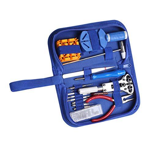 Flushzing - Juego de Herramientas de reparación de Relojes, 34 Unidades, Color Azul