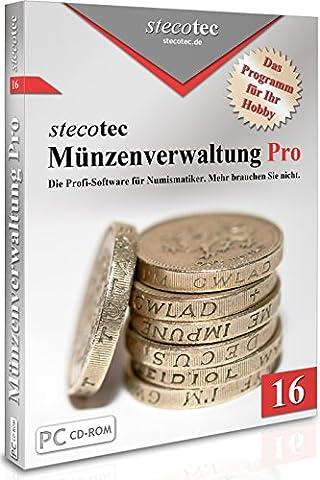 Münzen Software - Stecotec Münzen-Verwaltung Pro 16 - Programm f. Ihre Münzsammlung - Numismatik - Datenbank - CD-ROM