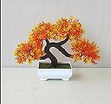 LOF-fei Künstliche Pflanzen Esstisch Zubehör bonsai Büro Home Dekoration,der orangefarbenen Quadrat Keramik Blumentöpfe