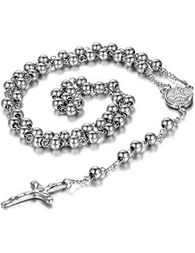 mendino Rosenkranz Kruzifix Kreuz Anhänger New Silber Edelstahl Halskette mit Kette Jesus Christus 4mm 6mm 8...