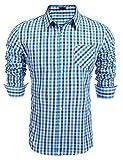 Burlady Herren Hemd Kariert Regular Fit Trachtenhemd Bügelleicht Freizeithemd Hemd Männer (S, Hellblau)