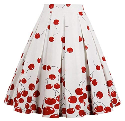 EUDOLAH Damen Kleid Vintage Sommerrock Knielang Faltenrock Stoffdreuck Kirsche Gr.S -
