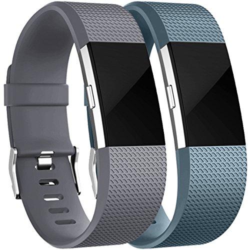 HUMENN Für Fitbit Charge 2 Armband, Charge 2 Armband Weiches Silikon Sports Ersetzerband Fitness Verstellbares Uhrenarmband für Fitbit Charge2 Small Grau+Schieferblau