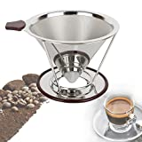 Maxbourne Reusable Stainless Steel Mesh Pour Over Coffee Dripper Portable Paperless Drip Coffee Maker Brews 1 to 4 Cups