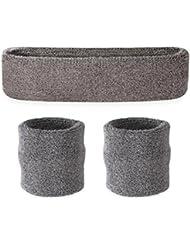 suddora Juego de Sweatband Diadema (1/2pulseras) Gris gris