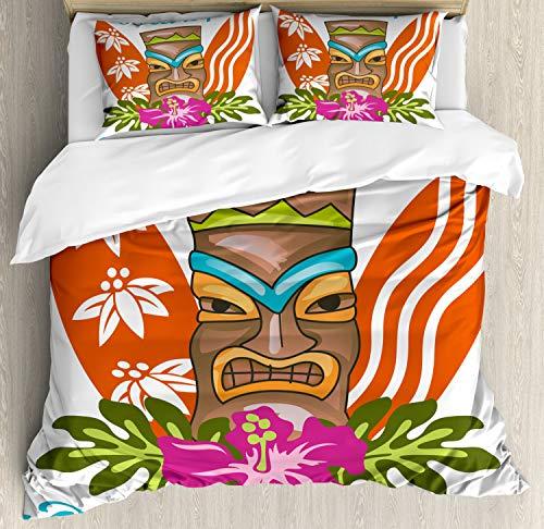 ettbezug Set King Size, Zitieren Hibiskus, Kuscheligform Top Qualität 3 Teiligen Bettbezug mit 2 Kissenbezüge, Mehrfarbig ()