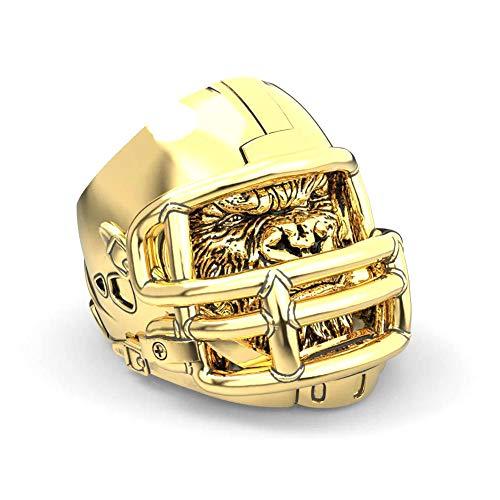 WLXW Edelstahl Wikinger Ring, Nordic Football Helm Ring Gorilla Helm Persönlichkeit Dominierenden American Football Herrenring,Gold,13