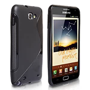 Yousave Accessories TM Black S-Line Silicone Gel Case Cover For The Samsung Galaxy Note