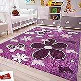 Kinderzimmer Teppich Modern in Lila Pink Flauschig Blumen Schmetterlinge Konturenschnitt Geprüft von 80x150 cm