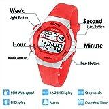 Kinder Digitaluhr,Jungen Mädchen Sport Wasserdichte LED Multifunktions Armbanduhr für Kinder mit Alarm (Rot)
