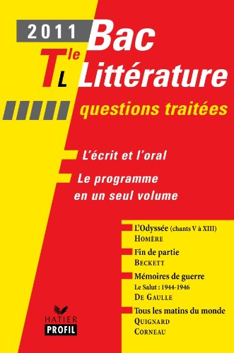 Profil Bac Littrature 2011 Tle L Questions traites