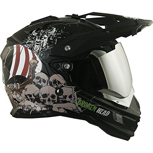 Enduro Helm mit Sonnenblende Broken Head Fullgas Viking matt schwarz incl. silber verspiegeltem Visier - Cross Helm - MX Helm - Quad Helm (XXL (62-63 cm)) -