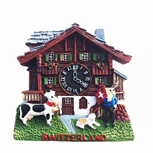 MUYU Magnet Kuckucksuhr Schweiz 3D Kühlschrankmagnet Tourist Souvenir Geschenksammlung Home & Kitchen Dekoration Magnetaufkleber Schweiz Kühlschrankmagnet