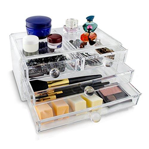Grinscard Kosmetik & Schmuck Organizer 4 Schubladen - Transparent 24 x 14 x 11 cm - Box Aufbewahrung...