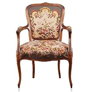 Gobelin chippendale style baroque rococo fauteuil/chaise avec accoudoirs et fleurs