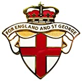 """ENGLAND BADGE """"FOR ENGLAND AND ST GEORGE"""" - Patriotic Enamel Pin Badge, UK Seller, (White version)"""