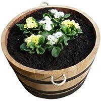 Pflanzkübel, Weinfass, Holzfass, Fass, Blumentopf Holz geschliffen 100 Liter (Natur lackiert mit Trageschlaufen)