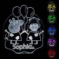 Mädchen Pig Personalisierte Geschenk Foto Nachtlicht Light 16 Farben
