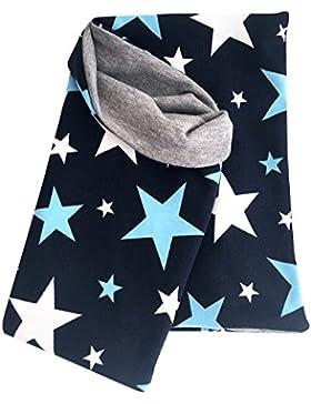 WOLLHUHN Leichtes Halstuch, Zaubertuch, Schlupfschal, Schal Sterne dunkelblau für Jungen und Mädchen (aus Öko-Stoffen...