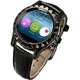 Smartwatch Elegante salud gestión ejercicio pulso relojes reloj Bluetooth circular acero T2/S2 los hombres , black