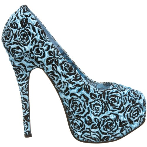 Bordello Burlesque-Pumps Teeze-39 B.Blue Floral Satin