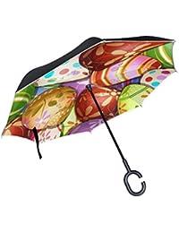TIZORAX Paraguas Reversible de Doble Capa con Mango en Forma de C para la Lluvia, el Sol y el Coche, con Huevos…