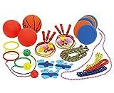 Betzold 100197 - Spiel- und Pausenkiste - 22 Pausenspiele, Spielbox, Bälle, Badminton, Springseil