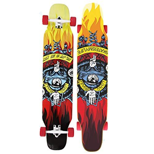 HYE-SPORT Dancing Longboard Skateboard 46 Pollici X 9 Pollici Wide Deck per Principianti Adulti Drop Down Through Deck - Logo a Colori e Legno Naturale - (Fino a 440LB)