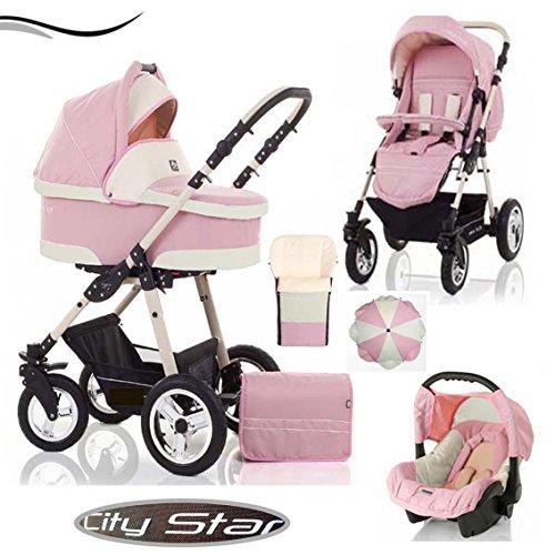 18 teiliges Qualitäts-Kinderwagenset 5 in 1 'CITY STAR' in 41 Farben: Kinderwagen + Buggy + Autokindersitz + Sonnenschirm + Fußsack + Schwenkräder - Mega-Ausstattung - all inclusive Paket in Farbe C-04 (ROSA-CREME)