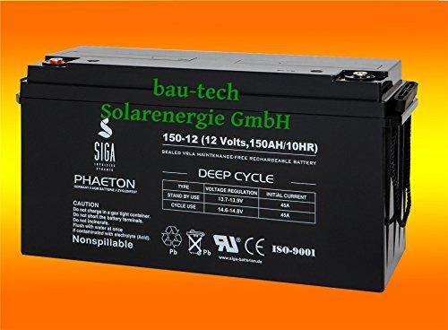 150Ah 12V Phaeton AGM GEL -Deep Cycle- Akku Batterie für Solar Wohnmobil Boot von bau-tech Solarenergie GmbH