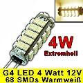 G4 Led Mit 68 Smd 4 Watt Warmwei 12v Dc 320lm Stiftsockel 360 Leuchtmittel Gu4 Lampensockel Spot Halogenersatz Lampe von PB-Versand