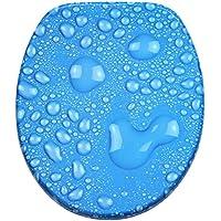 WC Sitz mit Absenkautomatik, hochwertige Oberfläche, einfache Montage, stabile Scharniere, Tautropfen Blau