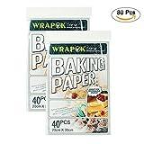 WRAPOK Antihaft Backen Plätzchen Blätter Vorschnitt Pergament Papier Pan Liner für Kochen Kuchen Küchen 8 x 12 Zoll 80 Stück
