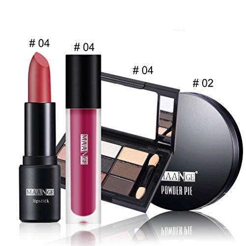 BrilliantDay 4PCS Kit de Maquillage Poudre pressée Rouge à Lèvres Brillant à lèvres Ombre à paupières Kit#4